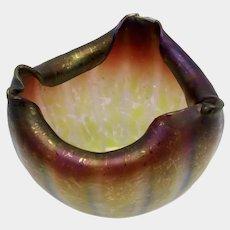Rindskopf Pepita Grenada Verde Iridescent Art Glass Bowl