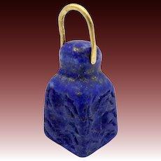 Blue Lapis Lazuli Neo Babylonian 22KT Gold Intaglio Charm or Pendant