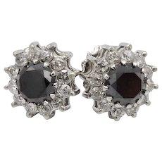 Vintage 18KT White Gold Black Diamond and Diamond Halo Cocktail Earrings