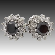 Vintage 18KT White Gold Black Diamond and Diamond Halo Cocktail Earrings
