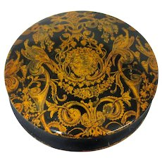 19th C. Italian Gold Leaf Snuff Box with Bacchus Ornamentation