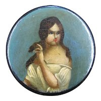 Hand Painted Papier Mache Snuff Box of a Woman, circa 1850