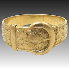 Victorian 9kt Gold Unisex Buckle Ring