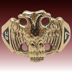14kt Gold Masonic Double Eagle Scottish Rite Ring with Enamel Details