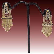 Victorian 15kt Gold and Black Enamel Tassel Earrings