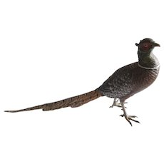 Bergman Cold Painted Bronze Pheasant Sculpture
