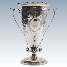 Gorham Coin Silver Vase with Suspended Beading and Repousse Flowers (1870)
