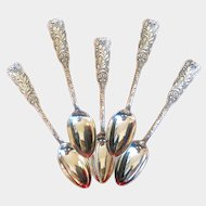 """Set of Five """"St. Cloud"""" Pattern Sterling Silver Coffee Spoons by Gorham"""