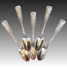 "Set of Five ""St. Cloud"" Pattern Sterling Silver Coffee Spoons by Gorham"