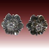 Vintage 14K Diamond Buttercup Set Earrings