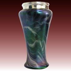 Rindskopf Bohemian Vase with English Sterling Silver Rim