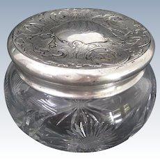 Webster Co. Sterling Silver Repousse Lidded Cut Glass Vanity Jar