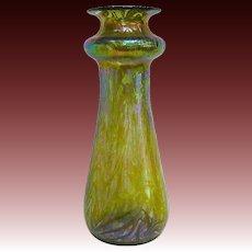 Kralik/Heckert Changeant Art Nouveau Glass Vase with Raised Decor