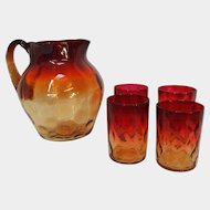 Antique Amberina Thumbprint Pitcher & 4 Glass Set
