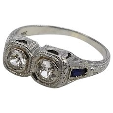 18K Gold Edwardian/Art Deco Two Stone Diamond Ring with Sapphires
