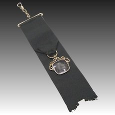 Victorian Era Black Ribbon Fob with Agate