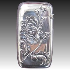 R. Wallace & Sons Sterling Silver Match Safe with Chrysanthemum Decoration