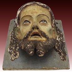 1890's Carved Wooden Portrait of Jesus