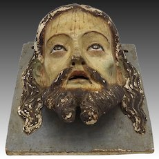1890's Carved Wooden Portrait of Jesus