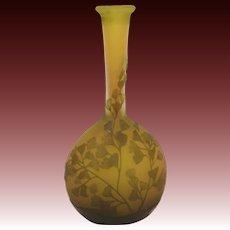 Gallé Banjo Shaped Gingko Leaf Yellow and Green Glass Vase