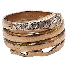 15 Karat Rose Gold Snake Diamond Ring