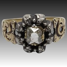 Victorian 14KT Gold & Sterling Silver Diamond Flower Ring