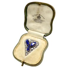 Victorian Ceylon No Heat Sapphire and Rose Cut Diamond Heart Shaped Pendant