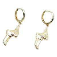 Signature 14K Gold Winged Foot Hermes Earrings
