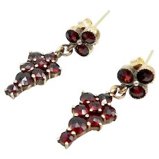 Bohemian Garnet Dangle Earrings with Clover Top