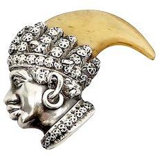 Blackamoor Sterling Silver Pendant or Brooch with Tiger Appendage