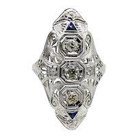 Art Deco 18K White Gold Diamond and Sapphire Ring