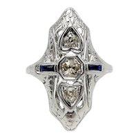 18K Gold Art Deco Diamond and Sapphire Heart Ring