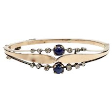14K Rose Gold, Sapphire and Diamond Victorian Bangle Bracelet