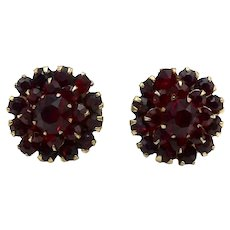 Victorian Era Deep Red Faceted Glass Flower Cluster Earrings