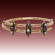 14 K Rose Gold Etruscan Revival , Pearl, and Garnet Bracelet, circa 1880s