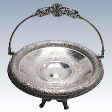 19th Century Meriden Britannia Ornate Silver-Plate Wedding Basket