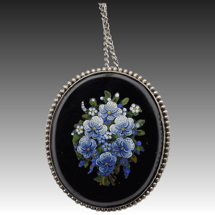 19th century micromosaic forget me not pendant set in sterling 19th century micromosaic forget me not pendant set in sterling silver aloadofball Image collections