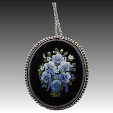 19th Century Micromosaic Forget-Me-Not Pendant set in Sterling Silver