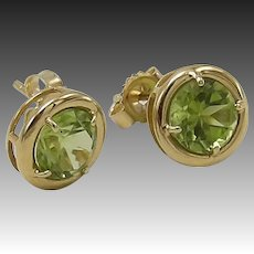 Vintage 14KT Gold Green Peridot Earrings