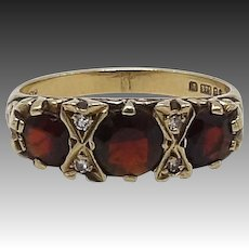 Late Victorian-Era Garnet and Diamond 9KT Gold Ring
