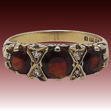 Victorian Revival Garnet and Diamond 9KT Gold Ring