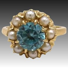 Vintage Zircon & Pearl 14KT Gold Ring