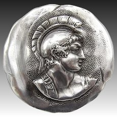 Sterling Silver Shiebler Etruscan Medallion Warrior Pin