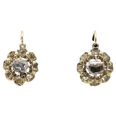 Antique Victorian 15KT Gold and Diamond Flower Earrings