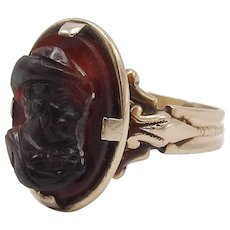 Deep Red Agate Cameo 15KT Rose Gold Ring