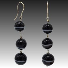 Victorian Era 14 KT Gold, Three-Drop Agate Bead Earrings