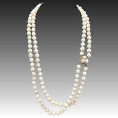 Vintage Ciner White Bead Necklace