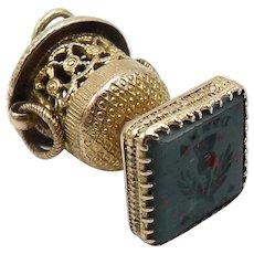 Bloodstone Signet 9KT Gold Watch Fob Charm