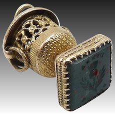 Bloodstone Signet 9KT Gold Watch Fob Charm