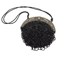Black Beaded Art Nouveau Purse